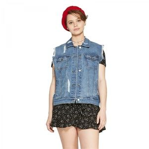 NWT Wild Fable Destructed Denim Vest XL Blue